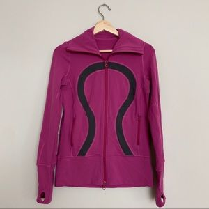 Lululemon Jacket Pink Magenta Logo Zip Up